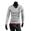 CT&HF Мужчины Мода Досуг Футболка Ситца V-образным вырезом Топы Горячие Продажа Креативный дизайн Топы темперамента T-Shirt для мужчин