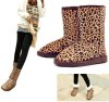 Женщины зимы теплые плоские каблуки Snow Leopard сапоги Бускин Замша Faux середины икры обувь snow leopard