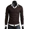 Мужчины вскользь тонкой V-образным вырезом Кардиган свитер вязаный свитер Топ Перемычка мужчины вскользь тонкой v образным вырезом кардиган свитер вязаный свитер топ перемычка