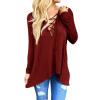 CT&HF Женщины Досуг Мода Хлопок T-Shirt Нерегулярные Дизайн Pure Color круглым воротом T-Shirt Корея контракту личности Топы