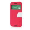 MOONCASE View Window Leather Side Flip Pouch Ultra Slim Shell Back ЧЕХОЛДЛЯ HTC One M8 Hot pink