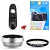 все цены на JJC FM1E Fuji X100T X100F камера аксессуар комплект стекло тень с 49mm пленкой + + УФ-фильтр адаптер электронный затвор + кнопка затвора пыле онлайн