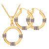 Африканский комплект ювелирных изделий 18-каратного золота и платины покрытием 2015 уникальное колье модные круглые серьги ожерелья комплект ювелирных изделий для женщин