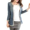 CT&HF Женщины Досуг Мода длинными рукавами пальто ковбой Женщины Темперамент Сладкий Pure Color с длинным рукавом пальто Корейский Сокращенное пальто пальто modus пальто