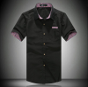 2 015 Летняя мода Стиль Мужская плед воротник рубашки Марка высокого качества с коротким рукавом футболки для мужчин Хлопок рубашки футболки для детей