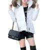 Женщины моды Зимний стеганый пуховик Короткая Тонкий меха с капюшоном куртки зимний пуховик