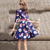 Lovaru ™Новая мода осень Женщины Платья Элегантный цветочный печатных платье леди темперамент Тонкий платье Шарм Повседневные платья