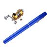 Мини Портативный алюминиевого сплава карман ручку Форма Рыба Удочка полюс С Reel синий