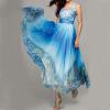 Lovaru ™Новый +2015 Летний стиль Женщины Голубой цветок печати платья макси без рукавов V-образным вырезом Лоскутное Секс Летний пляж длинное платье