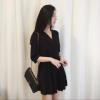 Lovaru ™ Новый плиссированные юбки талии высокий V-образным вырезом воспитать нравственность собрать семь длинное платье рукав в талии женские юбки в розницу