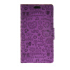 MOONCASE Cute Little Witch Leather Side Flip Wallet Card Holder Stand Pouch ЧЕХОЛ ДЛЯ LG C50 H340n Leon Purple