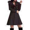 CT&HF Женщины Темперамент Элегантный сгущает Сладкий зимы пальто Pure Color шерстяные пальто контракту нагрудные Сельма Пальто