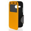 MOONCASE View Window Leather Side Flip Wallet Card Slot Pouch Stand Soft Shell чехол для Htc One Mini 2 ( M8 Mini ) Yellow чехол для one m8 artske air soft ac uwe m8 white
