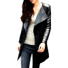 CT&HF Мода Осень Зима Пальто Женщины Длинные рукава PU и шерсть Верхняя одежда верхняя одежда