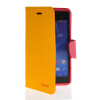 MOONCASE Classic cross pattern Leather Side Flip Wallet Card Pouch Stand Soft Shell Back чехол для Sony Xperia M2 Yellow