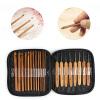 MyMei 20Pcs Beauty Bamboo Crochet Hooks Knitting Needles Set with Purple Case