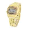 Светодиодный цифровой водонепроницаемый кварцевые наручные часы платье Мужчины Женщины Золотые наручные часы