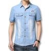 Мужчины деним синий коротким рукавом футболки 2016 летний Новый мужские рубашки мода дизайнеры свободного покроя мужские рубашки свободного покроя приталенный Fit мужские рубашки Размер 3XL мужские колца