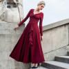 DF · RS Осеннее платье платье Новый V-образный вырез Slim стрейч юбка Slim плиссированная юбка Юбка слова