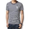 мода на период до 2016 года летом мужчины, футболки - шею полосатый футболки моды слим подходит случайный хлопок mens футболки горячей продажи новых футболок