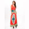 Буэнос Ниньос Женщины Классический Высокие Эластичные Простой Гигантские Качели Платье Печать Национальный Ветер