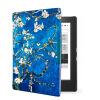 Van Gogh Design leather cover case Lighted Slim Leather Cover for 2014 kobo aura h2o 6.8'' ereader smart cover case 2014 slim