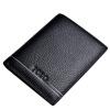 ПОЛО Минималистский мужской моды первый слой кожи короткий бумажник черный бумажник вертикальной секции 020 572