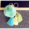 MyMei Touch Soft Rabbit Fur Ball PomPom Car Cell Phone Pendant Handbag Key Chain Ring pan model large escape key ring pendant