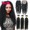 N.L.W Hair Brazilian Deep Wave Black Women Free Ship 100% Unprocess Virgin Human Hair with 4*4inch Lace Closure 1pc black women hairagami hair bun updo fold wrap