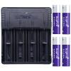 Shenfeng (supfire) интеллектуальное четырехслотовое зарядное устройство + четыре 18650 плюс пластина фиолетовый аккумулятор фонарик посвященный зарядное устройство для многостандартного аккумулятора C4-ZB4