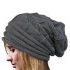 MyMei Women's Winter Beanie Knit Crochet Ski Hat Oversized Cap Hat Warm unisex striped knit beanie hat elastic warm winter cap