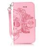 Розовый Череп Дизайн Кожа PU откидная крышка бумажника карты держатель чехол для IPHONE 5S цветочный дизайн кожа pu откидная крышка бумажника карты держатель чехол для iphone 5s