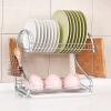 Chaomu домашняя кухня стеллажи стойки для хранения посуды Слейте стойки палочки двойной чаша кухни блюдо стойки полки кухни разделочная доска стойки белый грунтовые воды дриблинг ZM3101
