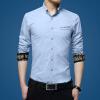 lucassa мужские рубашки воротник рубашки мужские простой случайный с длинными рукавами рубашки мужские рубашки 1730 светло-синий L рубашки