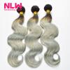 Human Virgin Hair Ombre Brazilian Body Wave 4 Bundles for Black Women Sew In Weft 8A Top Grade 1B Grey Hair Weave Extension Full
