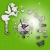 Мода DIY бабочка Фея стены наклейки зеркало настенные часы Home Decor часы настенные proffi home корица