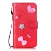 Красный цветок дизайн искусственная кожа флип кошелек карты держатель чехол для LG K4 синий цветок дизайн искусственная кожа флип кошелек карты держатель чехол для lg k4