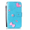Синий цветок дизайн искусственная кожа флип кошелек карты держатель чехол для HUAWEI Y6 смартфон huawei y6 pro золотой
