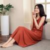 (INMAN) платье темперамент платье юбка лето Xiaoxing новый самосовершенствование без рукавов жилет юбка лето пляж юбка оранжевый красный M 8521030414