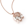 Фото Yoursfs® 18K Rose Gold Plated Shinning Rhinestone Ceramic Elephant Pendant Sweater Chain Necklace