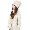 MyMei Women's Warm Woolen Knit Hood Scarf Shawl Caps Hats Suit 1 Set hight quality winter beanies women plain warm soft beanie skull knit cap hats solid color hat for men knitted touca gorro caps