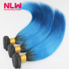 Brazilian Virgin Straight hair Ombre Human Hair 1B/blue Sew In Weft 8A Grade Virgin Ombre Brazilian Hair Extension 4 Bundles
