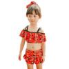 6610-5 комфорт девочек купальники детей купальник раскол купальники корейский шаблон моды рыбы Млечный (Qihai) красный L код
