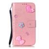 Розовый цветок дизайн искусственная кожа флип кошелек карты держатель чехол для SAMSUNG A3 2015