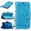 Light Blue Bear Embossed PU Leather Wallet Case Classic Flip Cover with Stand Function and Credit Card Slot for SAMSUNG Galaxy J1