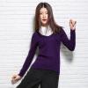 Бархатный мир хороший цвет с длинными рукавами V-образным вырезом свитер Тонкий свитер R1113 темно-фиолетовый S madame à paris свитер с длинными рукавами