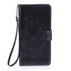 Черный цветочный дизайн Кожа PU откидная крышка бумажника карты держатель чехол для SONY M4 QUA цветочный дизайн кожа pu откидная крышка бумажника карты держатель чехол для iphone 7g