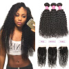 Wholesale 7A Unprocessed Brazilian Virgin Hair Kinky Curly Weave 3 Bundles With 4x4 Free/Middle/Three Part Lace Closure 4PCS Blin