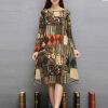Знаменитое платье новых женщин 2016 способа напечатает полную осень одевает хлопок и льняную дешевую ткань Кита