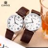 Comtex Марка Мода пару часов кожа кварцевые наручные часы мужские часы женские часы женские наручные